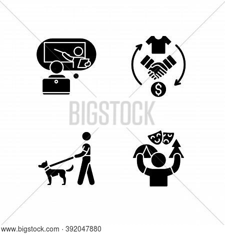 Job Opportunities Black Glyph Icons Set On White Space. Online Tutor. Reseller. Dog Walker. Camp Cou
