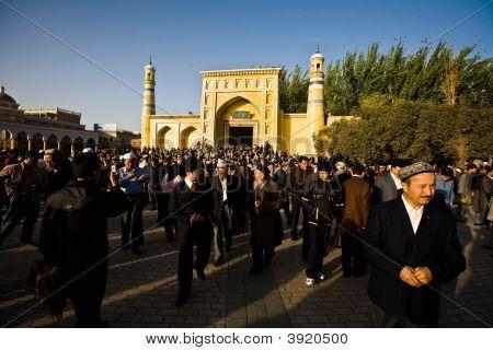 Muslim Men Leaving Ramadan Prayer Service