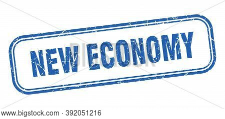 New Economy Stamp. New Economy Square Grunge Blue Sign
