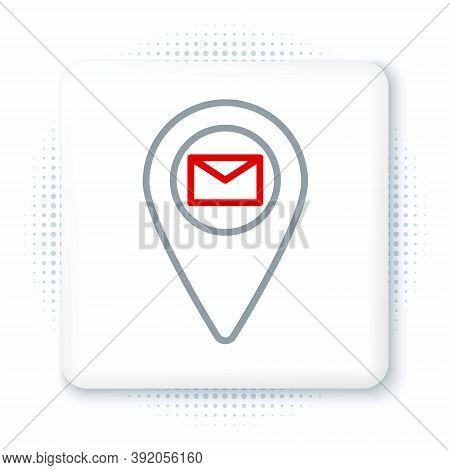 Line Placeholder On Map Paper In Perspective Icon Isolated On White Background. Colorful Outline Con