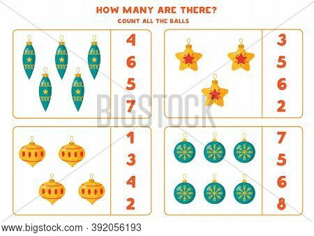 Counting Game For Kids. Math Worksheet With Christmas Balls.
