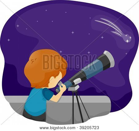 Illustration of a Boy Using a Telescope for Stargazing