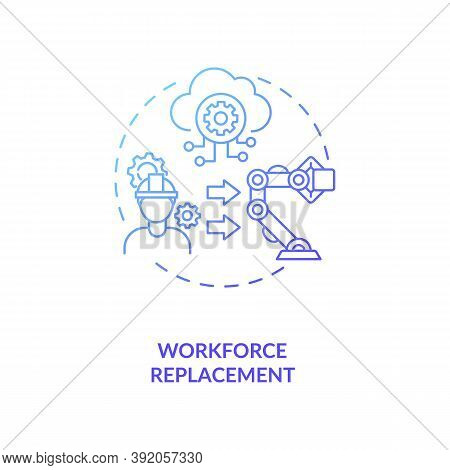 Workforce Replacement Concept Icon. No Working Places For Lots Of People. Money Multiplying Technolo
