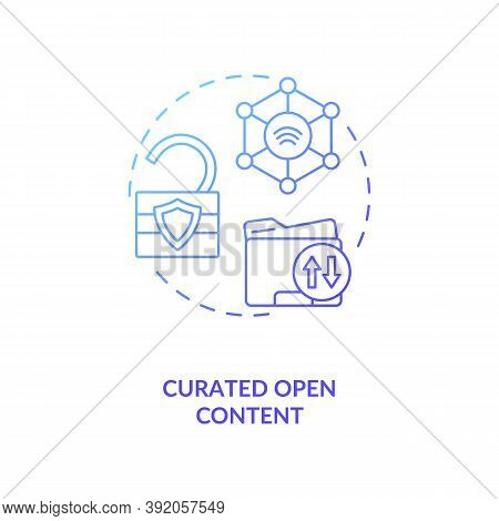 Curated Open Content Concept Icon. Open Source Data. Easy To Get Information. Mananging Tour Info. A