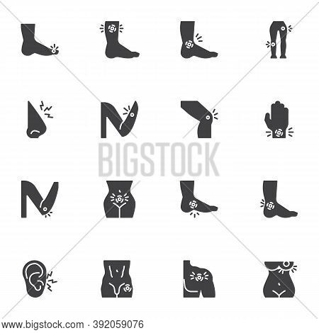 Body Ache Vector Icons Set, Body Pain Modern Solid Symbol Collection, Filled Style Pictogram Pack. S