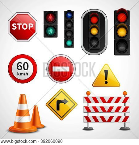 Road Traffic Flow Regulatory Signs And Stoplights Colorful Glossy Pictograms Collection Educative Ba