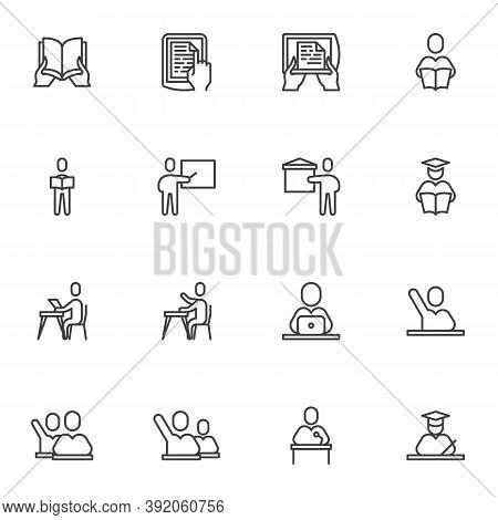 Back To School Line Icons Set, Education Outline Vector Symbol Collection, Linear Style Pictogram Pa
