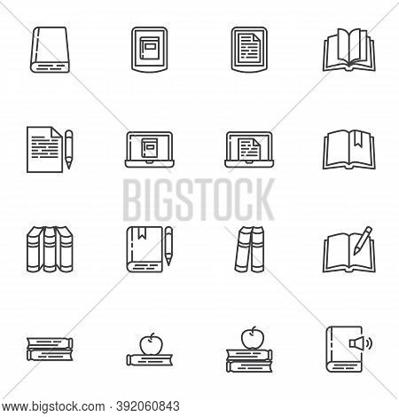Book Library Line Icons Set, Outline Vector Symbol Collection, Linear Style Pictogram Pack. Signs, L