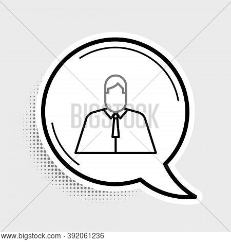 Line Lawyer, Attorney, Jurist Icon Isolated On Grey Background. Jurisprudence, Law Or Court Icon. Co