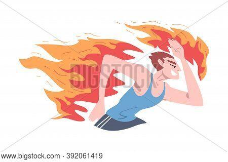 Running Burning Man, Stress, Burnout, Emotional Problems Concept Cartoon Style Vector Illustration