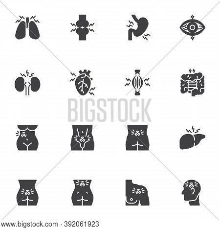 Human Body Pain Vector Icons Set, Body Ache Modern Solid Symbol Collection, Filled Style Pictogram P