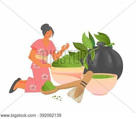 Matcha Green Tea Card Or Banner Design With Woman Vector Illustration Isolated.