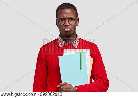 Miserable Displeased Offended Black Male College Student, Wants To Cry From Negative Emotions, Carri