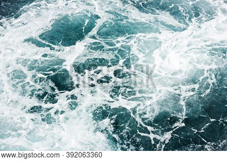 Ocean Wave Background. Bubble Water Backdrop. Turbulent Sea Texture. Messy Water Flow. Depth Of The