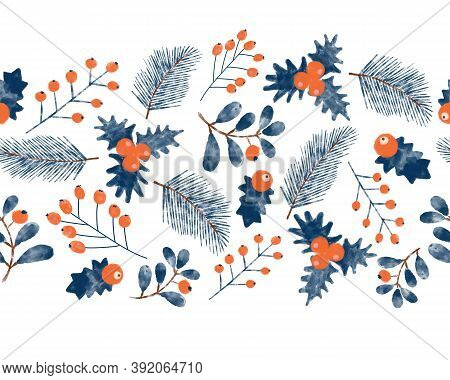 Christmas Mistletoes Seamless Watercolor Border. Blue And Red Christmas Holiday Florals Horizontal R