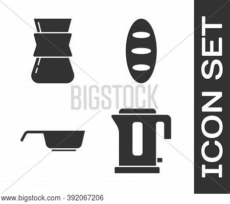 Set Electric Kettle, Coffee Turk, Frying Pan And Bread Loaf Icon. Vector