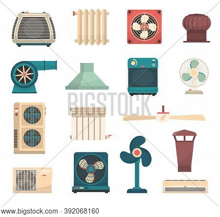 Colorful Flat Set Of Ventilation Conditioning And Heating System Equipment Isolated Vector Illustrat