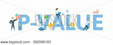 P-value. Concept With Keywords, People And Icons. Flat Vector Illustration. Isolated On White.