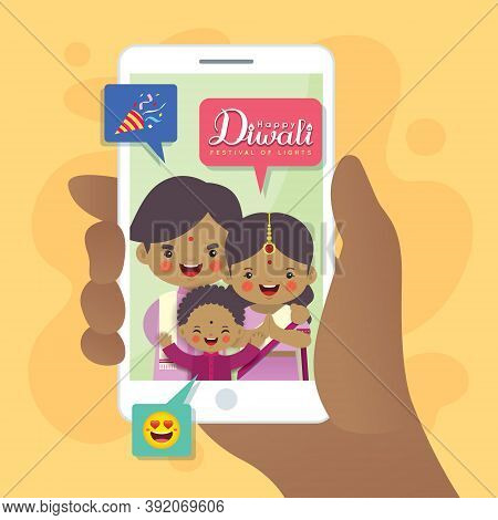 Diwali Or Deepavali Greeting Card. Cartoon Indian Family Having Video Call Using Smartphone. Video C