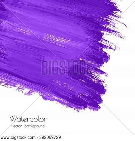 Ultra Violet, Purple, Lilac Grunge Marble Vector Watercolor Dry Brush Strokes Texture Hand Paint On