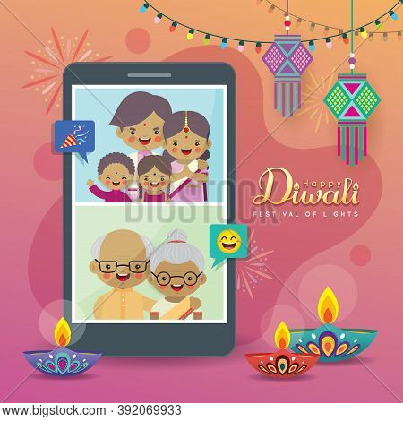 Cartoon Indian People Video Chat With Family Via Smartphone To Celebrate Festival. Online Diwali Or