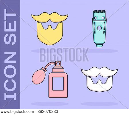Set Mustache And Beard, Mustache And Beard, Aftershave Bottle With Atomizer And Electrical Hair Clip
