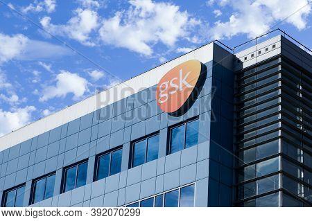 Poznan, Poland - October 28.2020: The Glaxosmithkline Headquarters Office Building In Poznan. Logo.
