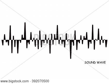 Black Pulse Music Player. Audio Wave Logo. Vector Sound Equalizer Element