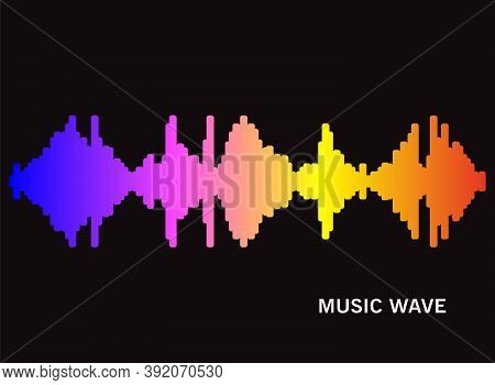 Pulse Music Player Silhouette On Black Background. Audio Colorful Wave Logo. Vector Rainbow Equalize