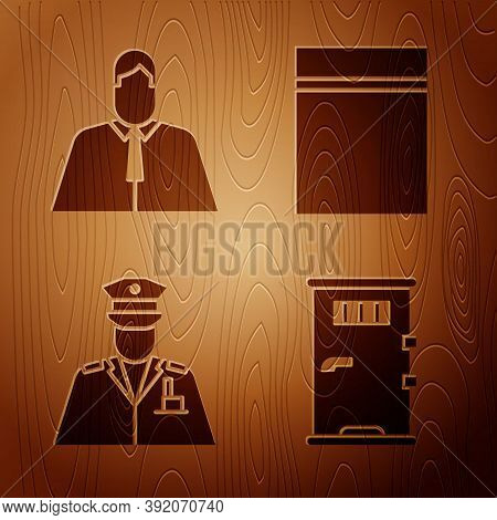 Set Prison Cell Door, Lawyer, Attorney, Jurist, Police Officer And Plastic Bag With Ziplock On Woode