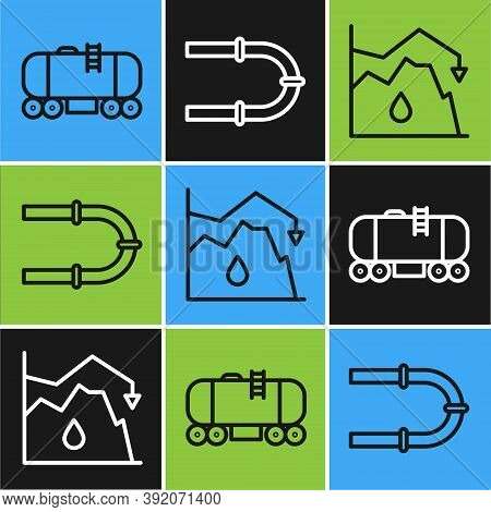 Set Line Oil Railway Cistern, Drop In Crude Oil Price And Industry Pipe Icon. Vector