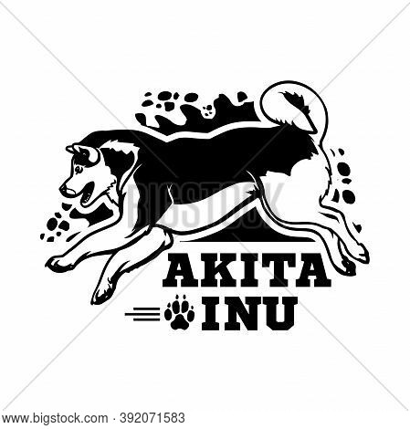 Akita Inu Dog In Jump - Dog Happy Face Paw Puppy Pup Pet Clip Art K-9 Cop Police Logo Svg Png Clipar