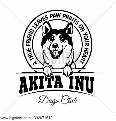 Akita Inu Dog - Dog Happy Face Paw Puppy Pup Pet Clip Art K-9 Cop Police Logo Svg Png Clipart Vector