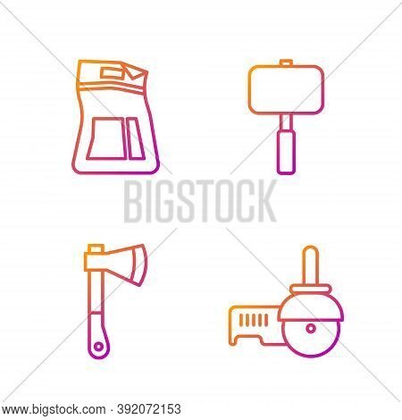 Set Line Angle Grinder, Wooden Axe, Cement Bag And Sledgehammer. Gradient Color Icons. Vector