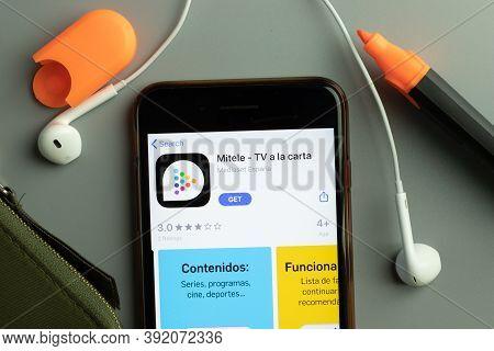 New York, Usa - 26 October 2020: Mitele Mobile App Icon Logo On Phone Screen Close-up, Illustrative