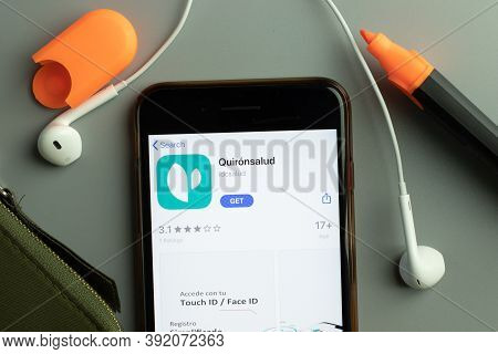 New York, Usa - 26 October 2020: Quironsalud Mobile App Icon Logo On Phone Screen Close-up, Illustra