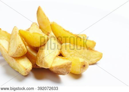 roasted potatoes on the white
