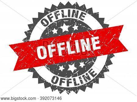 Offline Stamp. Grunge Round Sign With Ribbon