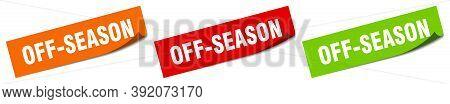 Off-season Sticker. Off-season Square Isolated Sign. Off-season Label
