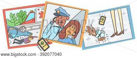 Police Inform The Woman About The Accident Of Relatives, Vector Illustration. Car Overturned And Wre