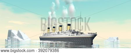 Titanic Ship Cruise By Sunset - 3d Render