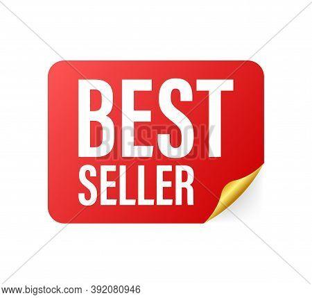 Best Seller Badge. Best Seller Red Label. Retail Badge. Advertisement Symbol. Vector Illustration.