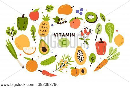 Collection Of Vitamin C Sources. Fruits And Vegetables Enriched With Ascorbic Acid. Dietetic Food, O