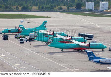 Ukraine, Kyiv - October 10, 2020: Ukrainian Aircraft Of Windrose Airlines. Planes Atr 72-600 Ur-rwa.