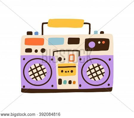 Colorful Hiphop Boombox Isolated On White Background. Retro Cassette Player, Music Recorder. Party S