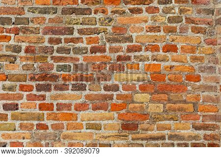Medieval Orange Bricks And Mortar Wall Background Texture