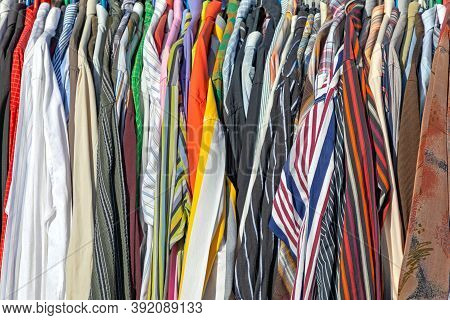 Second Hand Garment Clothing Shirts At Flea Market