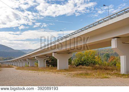 New Elevated Highway Overpass Concrete Bridge Structure