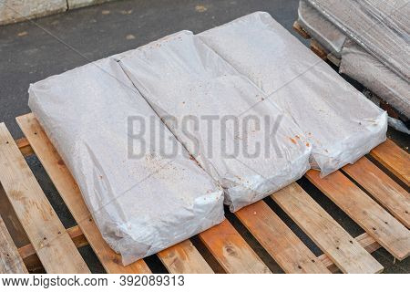 Heavy Material Delivery In Sacks At Cargo Pallets