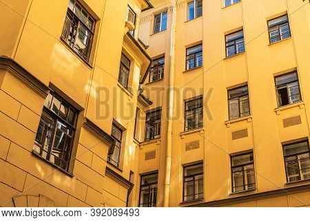 Typical View Of An Early 20th Century Residential Building In The Center Of St. Petersburg, Russia.